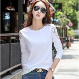 新品 新品 プラスサイズ Tシャツ女性長袖綿 2019 韓国中空アウトトップ婦人服 Tシャツレター Tシャツファム
