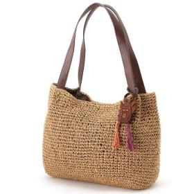 バッグ カバン 鞄 かごバッグ エスニックモチーフ付きペーパーショルダーカゴバッグ カラー 「ブラウン」
