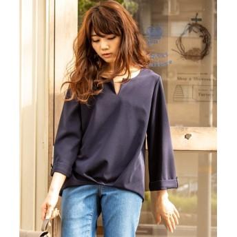 【新色追加♪】裾タックブラウス見え8分袖カットソートップス (Tシャツ・カットソー)(レディース)