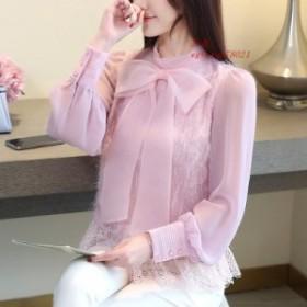 2019 春ロングランタンスリーブボウノットピンクブラウス女性 韓国 弓ノット白シャツ女性蝶ネクタイトップス