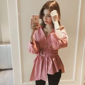 括れた腰 ストライプ柄 vネック カジュアル 韓国風 配色 2色 トップス シャツ