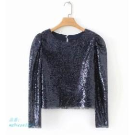 2019  なロング Sleve O ネックショートスパンコール Tシャツ女性ダンス Tシャツ女性ブリンブリンシャイ Tシャツ なスパン