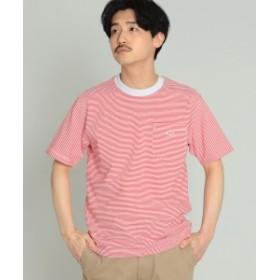 【WEB限定】DANTON / ボーダー ポケット Tシャツ メンズ Tシャツ ○WHITE/CARMINE 40
