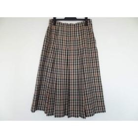 【中古】 ダックス DAKS スカート サイズ72-96 レディース アイボリー 黒 マルチ チェック柄