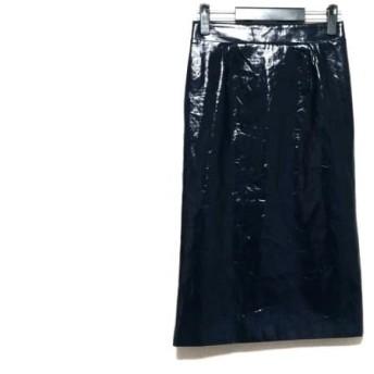 【中古】 ミラオーウェン Mila Owen ロングスカート サイズ1 S レディース ネイビー フェイクレザー