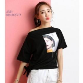 ネック tシャツ女性 2019 新高品質春夏コットン Tシャツ女性おかしい不規則な韓国トップス原宿