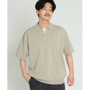 BEAMS / ニット ハーフジップ ポロ メンズ ポロシャツ BEIGE XL