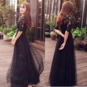 パーティードレス 結婚式 二次会 お呼ばれ ワンピース 袖あり お呼ばれドレス ドレス 20代 30代 40代 マキシ丈 3XL