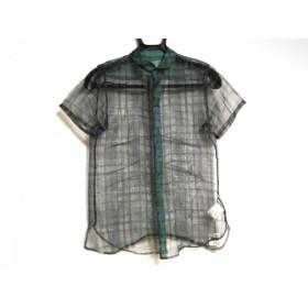 【中古】 ワイズ Y's 半袖シャツブラウス サイズ1 S レディース グリーン チェック柄/シースルー