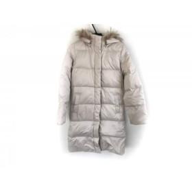 【中古】 クイーンズコート ダウンコート サイズ2 M レディース ベージュ ジップアップ/ファー/冬物