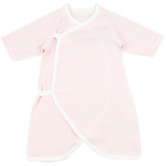 新生児 [スナップタイプ]コンビ肌着 長袖 ボーダー ピンク インナー・パジャマ 新生児・乳児(50~80cm) コンビ肌着・長下着 (30)