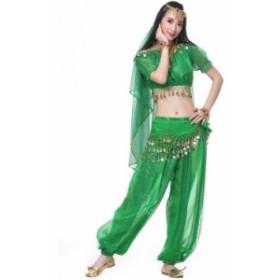 ベリーダンス衣装 スパンコール 5点セット レディース 半袖 ポリエステル コスチューム レッスン着 アラビアン ステージ衣装