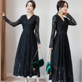結婚式 ドレス お呼ばれ ワンピース 50代 演奏会用 ロングドレス 黒 袖あり 総レース カシュクール 大きいサイズ 韓国 パーティードレス