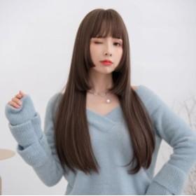 姫カット ウィッグ ロング カワイイ 自然 小顔 5点セット カツラ 4カラー フルウィッグ 姫髪 ストレート 品質 オシャレ