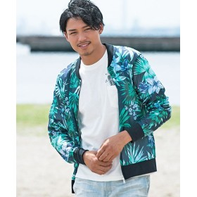 シルバーバレット VICCIボタニカル柄メッシュMA 1ジャケット メンズ ネイビー系1 46(L) 【SILVER BULLET】