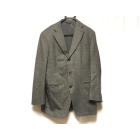 【中古】 ゼニア ErmenegildoZegna ジャケット サイズ50 メンズ ライトグレー 黒 肩パッド