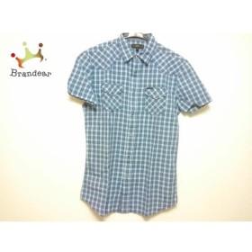 ディーゼル DIESEL 半袖シャツ サイズS メンズ 美品 ブルー×白×マルチ チェック柄  値下げ 20190630