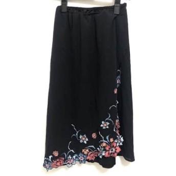 【中古】 ヴィヴィアンタム VIVIENNE TAM スカート サイズ0 XS レディース 黒 ライトブルー マルチ
