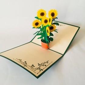 手作り切り紙ポップアップカード ひまわり