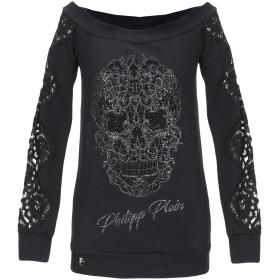 《期間限定セール開催中!》PHILIPP PLEIN レディース スウェットシャツ ブラック XS コットン 65% / ポリエステル 35% / ナイロン / ガラス / アルミニウム