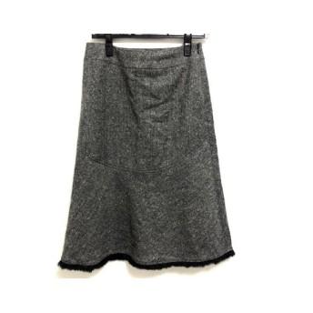 【中古】 エポカ EPOCA スカート サイズ40 M レディース 黒 白 裾ファー