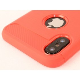Apple iPhone X用 ヘアライン模様×カーボン調 TPU ソフトケース#レッド【新品/送料込み】