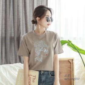 人気 夏綿文字刺繍 Tシャツ女性白黒女性 Tシャツ O ネック半袖ルーズ Tシャツ 2019 女性トップス