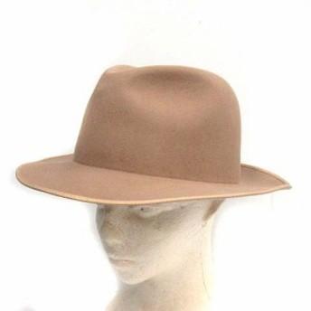 【中古】タア TAH 帽子 ハット 中折 ラビットファー ベージュ /CY15 レディース