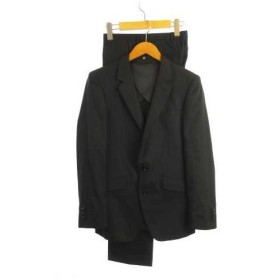 スーツセレクト SUIT SELECT スーツ テーラードジャケット 背抜き 2B ウール混 ストライプ ダブルパンツ センタープレス チャコールグレ