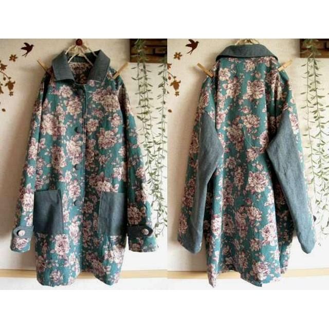 綿麻ターコイズグリーン花柄肩落ちスプリングコート・M~L