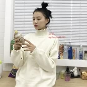 女性ファッションルース韓国セーター圧着タートルネックドロップショルダー無地原宿女性甘い秋生き抜くトップス