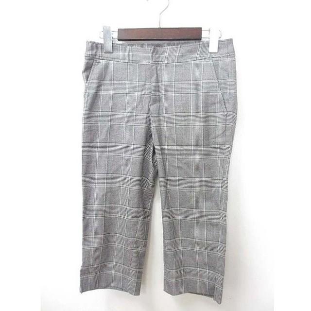 グリーンレーベルリラクシング ユナイテッドアローズ green label relaxing クロップド パンツ 36 S 灰 グレー 白 ホワイト