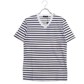スタイルブロック STYLEBLOCK ボーダーポケット付き天竺VネックTシャツ (ホワイト×ネイビー)