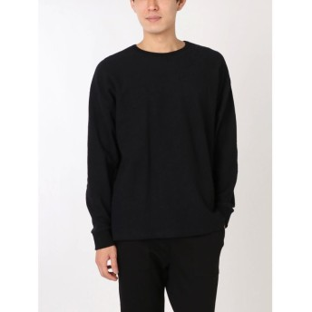 【50%OFF】 コトリカ ワッフル長袖Tシャツ メンズ ブラック M 【COTORICA.】 【セール開催中】