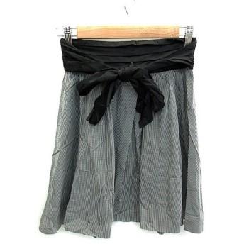未使用品 ローズバッド ROSE BUD スカート フレア ひざ丈 ギンガムチェック柄 リボン モノトーン 1 白 ホワイト 黒 ブラック /NS54
