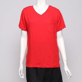 イーハイフンワールドギャラリー E hyphen world gallery outlet スラブカラーVネックポケットTシャツ (レッド)