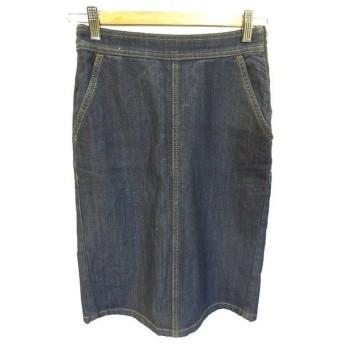 ナチュラルビューティーベーシック NATURAL BEAUTY BASIC デニム タイト スカート ミドル 膝丈 裏起毛 XS インディゴ ネイビー