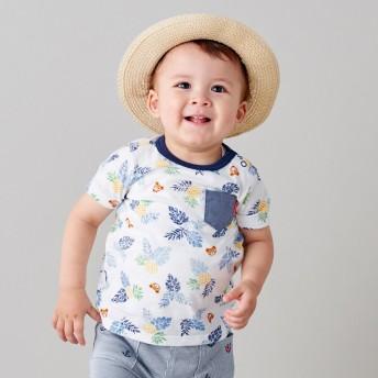 ミキハウス プッチー トロピカル柄半袖Tシャツ 紺