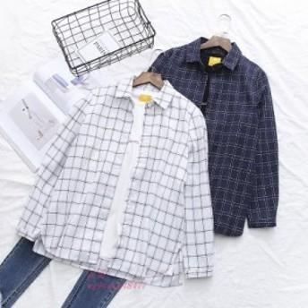 韓国原宿学生格子縞 シャツ 女性 2019 春 新作新鮮な襟長袖シャツ女性トップス