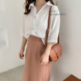 2019 夏シックなシフォンシャツ女性 ファッションルースハーフランタンスリーブ気質ブラウス女性薄いソリッドカラー カジュアル