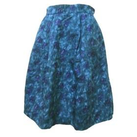 ボールジー BALLSEY トゥモローランド スカート ひざ丈 フレア シルク混 コタック 総柄 青 ブルー 34 小さいサイズ コットン X レディ