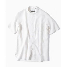 【37%OFF】 シップス SC: COOLMAX(R) リネン バンドカラー ショートスリーブ シャツ メンズ ホワイト SMALL 【SHIPS】 【セール開催中】