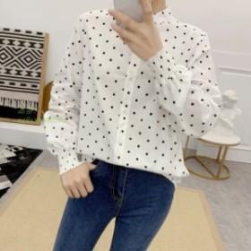 女性新春 アートスタイル 基本的なブラウス気質ポルカドットプリン白シャツ女性すべて一致ルーズ