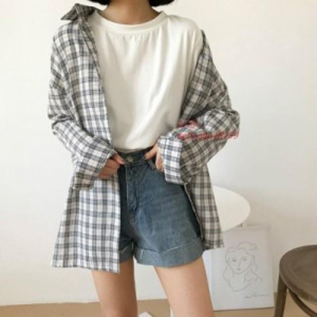2019 秋プレッピースタイル女性シャツ韓国ルースレトロ格子縞 ブラウスシャツ女子学生原宿シックな
