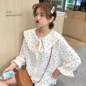 2019 春夏甘いシャツ女性ファッションピーターパン襟フレア袖ドットプリントシフォンブラウスファムかわいいルーズシャツトップ