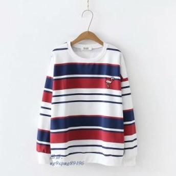2019 春秋プレッピースタイル Tシャツ 女性カジュアル O ネックロングスリーブクレーン刺繍ストライプ Tシャツ女性 新鮮なトップス