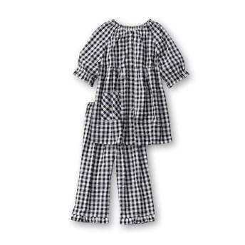 綿100%サッカーギンガム半袖シャツパジャマ (パジャマ・ルームウェア)