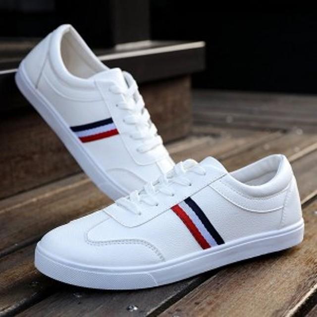 c8dd709892bbef スニーカー メンズ レースアップ ローカット カジュアルシューズ 革靴 皮靴 紐靴 ブラック 黒 ホワイト 白