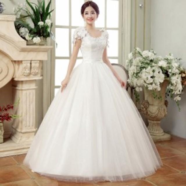 ウェディングドレス ドレス 二次会 花嫁 Aラインドレスホワイト 白 編み上げ 4点セット 送料無料