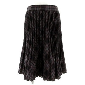 コムサデモード COMME CA DU MODE スカート プリーツスカート ミディ丈 日本製 総裏地 チェック グレー ブラック 黒 エンジ 9 レ